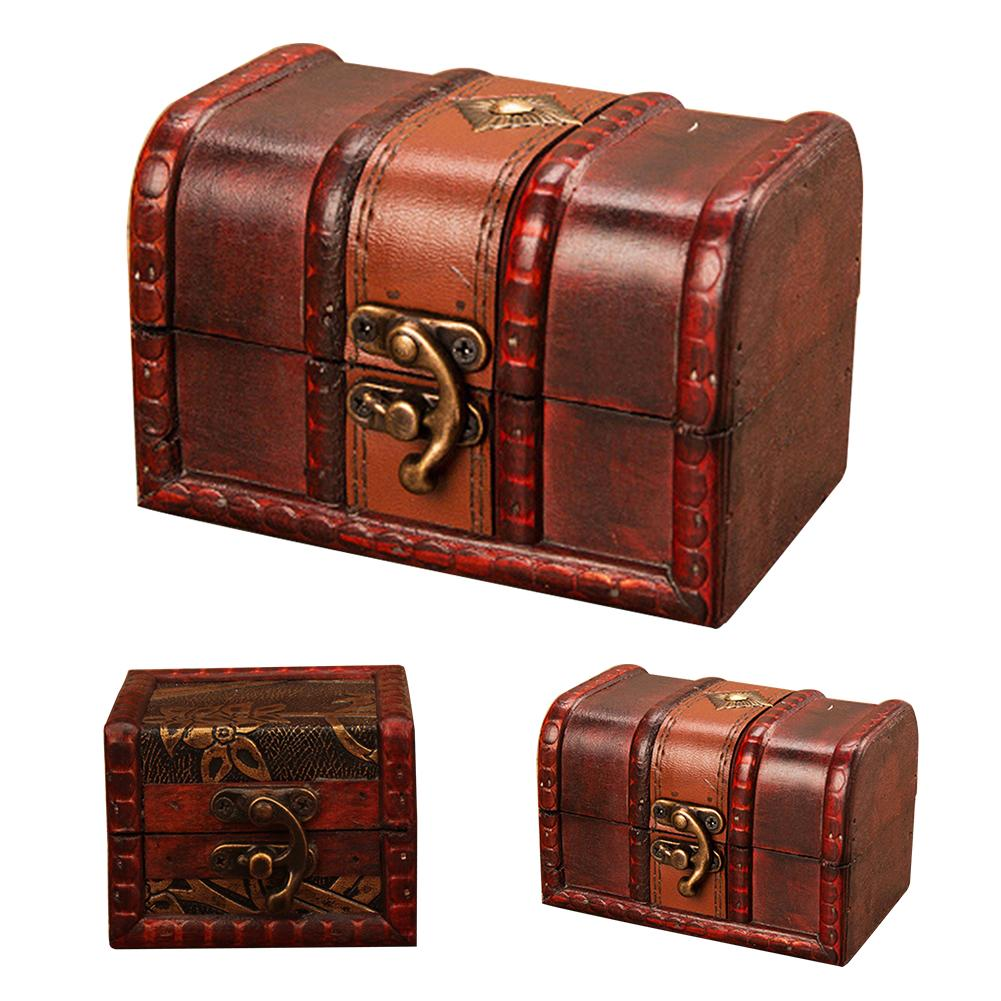 Embossed Chinese Vintage Style Handmade Wooden Boxes Jewelry Storage Case With Lock Treasure Box Organizer