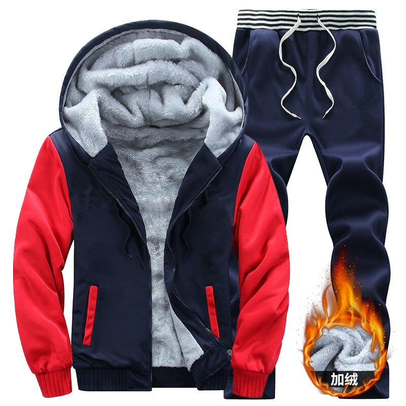GUI Сян 2018 зимние Брендовые мужские с капюшоном модные свитеры Мужская теплая толстовка с капюшоном флис (толстовки + Штаны) Размер M-5XL