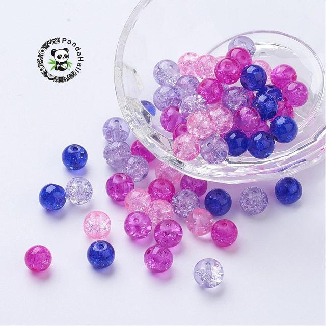 4mm 6mm 8mm peint perles de verre craquelé rond couleur mélangée pour la fabrication de bijoux