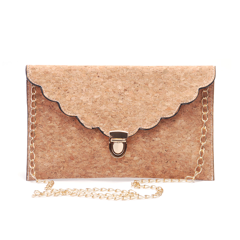 Customization New Scalloped Full Cork Clutch Purse Bag Hasp Closure Women  Crossbody Bag With A Long Golden Chains
