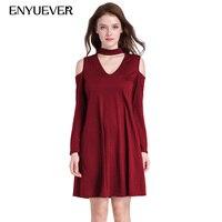 Enyuever Loose T Shirt Dress Long Sleeve Dress Elegant Solid Basic Tunic V Neck Halter Off