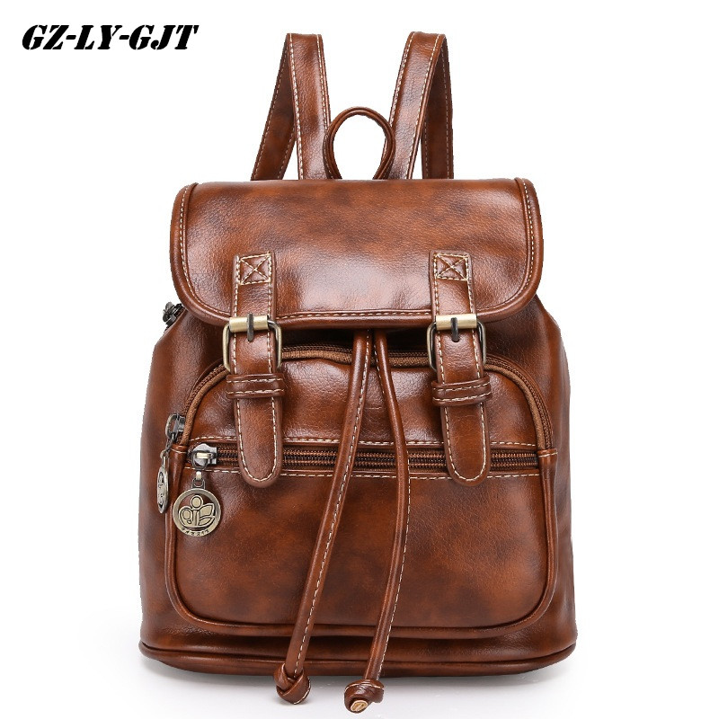 GZ-LY-GJT Brown Girls School Backpack Women PU Leather Lady Bag Baobao Bag Bao Bao Travel Vintage Fashion Black Small Backpack women pu leather backpack mansur lady leather backpack girl leather school bag free shipping fashion girls bag
