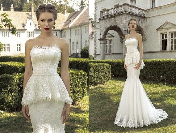 vestidos de novia elegant strapless fully handmade lace applique
