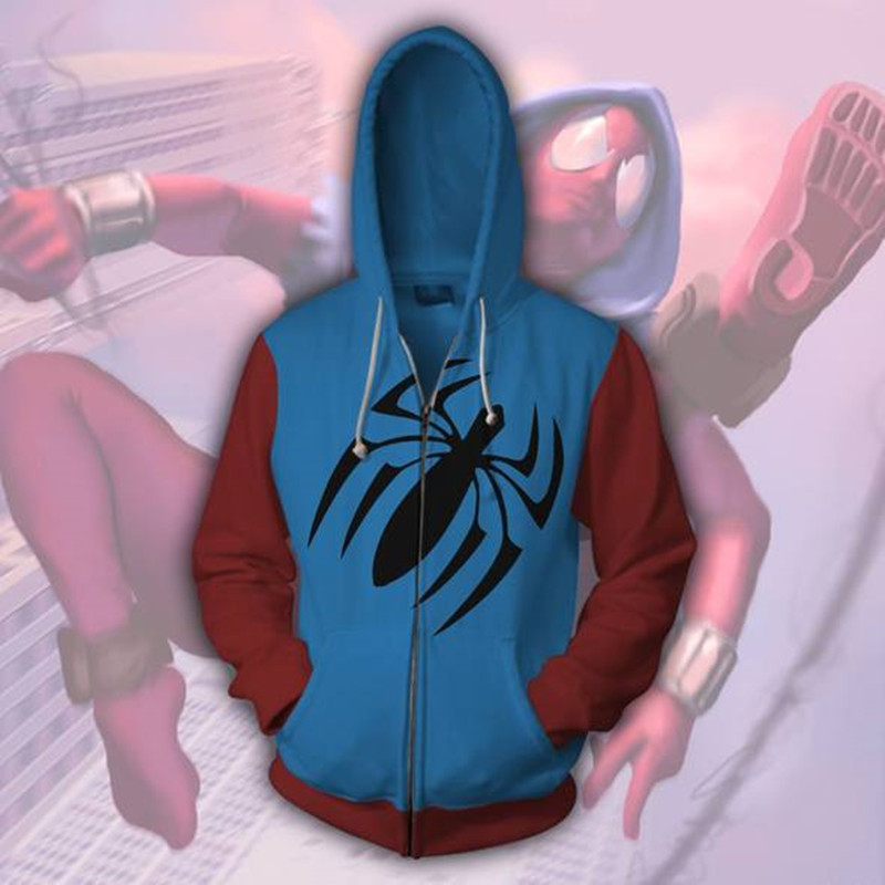 2018 Autumn Winter Scarlet Spider Zip Up Hoodie Man Hoodies Sweatshirts Superhero Cosplay  Hooded Coats Zipper jacket