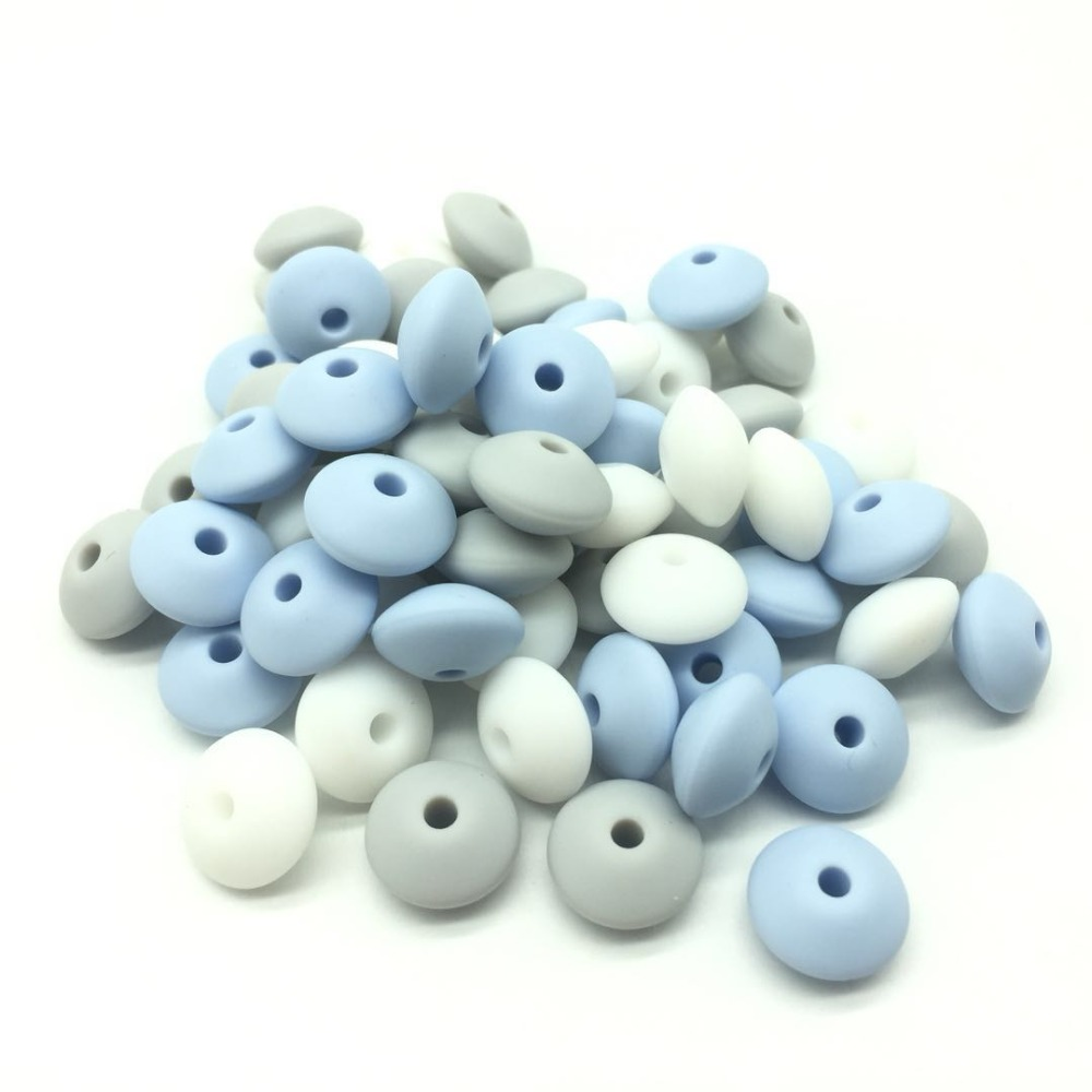 100 pcs Loose Silicone Beads Abacus Lentils 12*6mm Diy Teething Jewelry Bpa Free Baby Pacifier Chain Silicone Beads