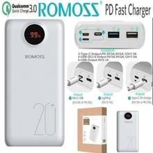 Romoss 20000mah Power Bank PD Quick Charge 3.0 20000 mah Powerbank QC 3.0 18W 9V 12V for iPhone Xiaomi Samsung S10 S9 Huawei P10 rivacase va2070 20000mah qc pd черный