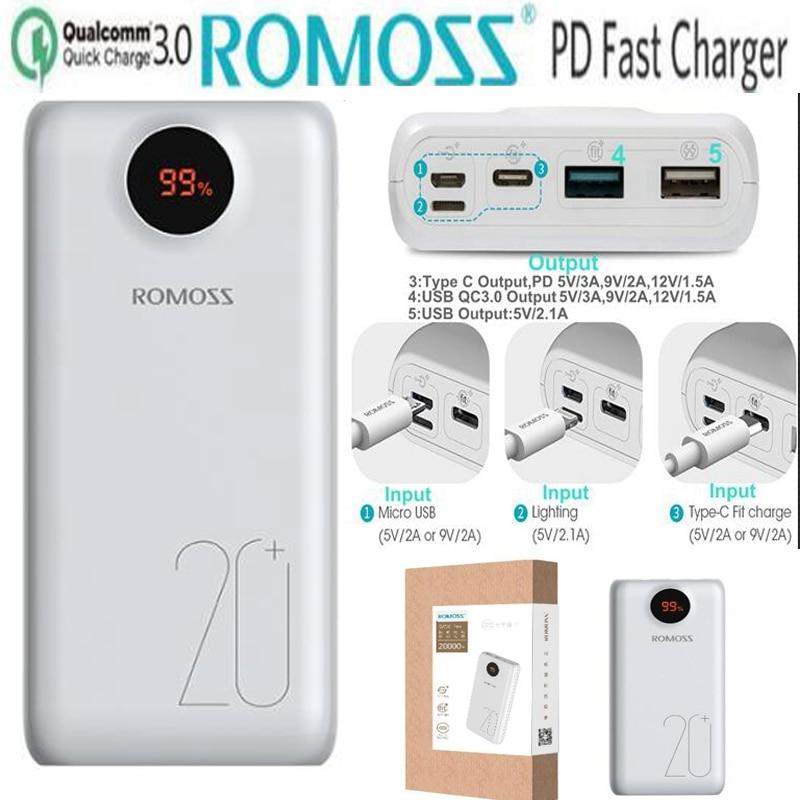 Romoss 20000mah Power Bank PD Quick Charge 3.0 20000 mah Powerbank QC 3.0 18W 9V 12V for iPhone Xiaomi Samsung S10 S9 Huawei P10