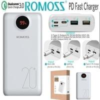 Romoss 20000mah Power Bank Quick Charge 3.0 PD QC3.0 Powerbank 20000 mah 18W 9V 2A 12V 1.5A for iPhone X Xiaomi Redmi Samsung