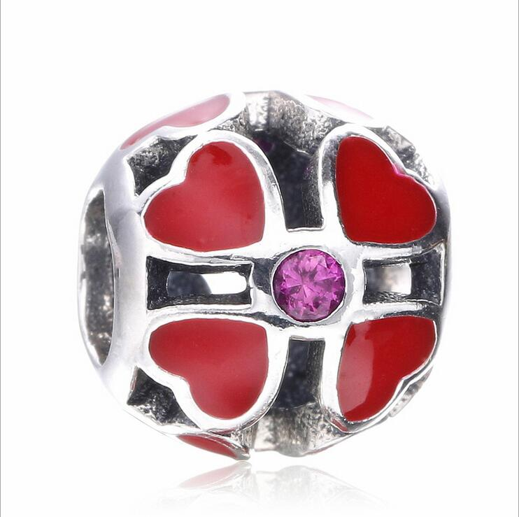 100%925 Sterling Silve Charm Round beads red Enamel four leaf grass Fits Pandora Style Bracelets DIY Jewelry accessorie making
