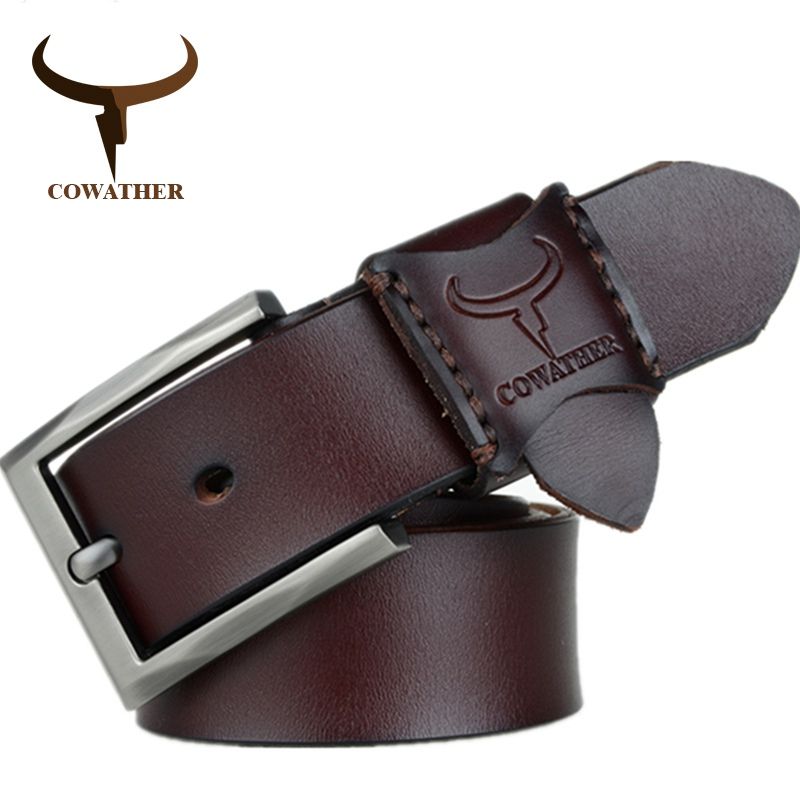COWATHER 2018 hot sale jeans men   belt   cow genuine leather   belts   for men new arrival good quality male strap 130CM big size