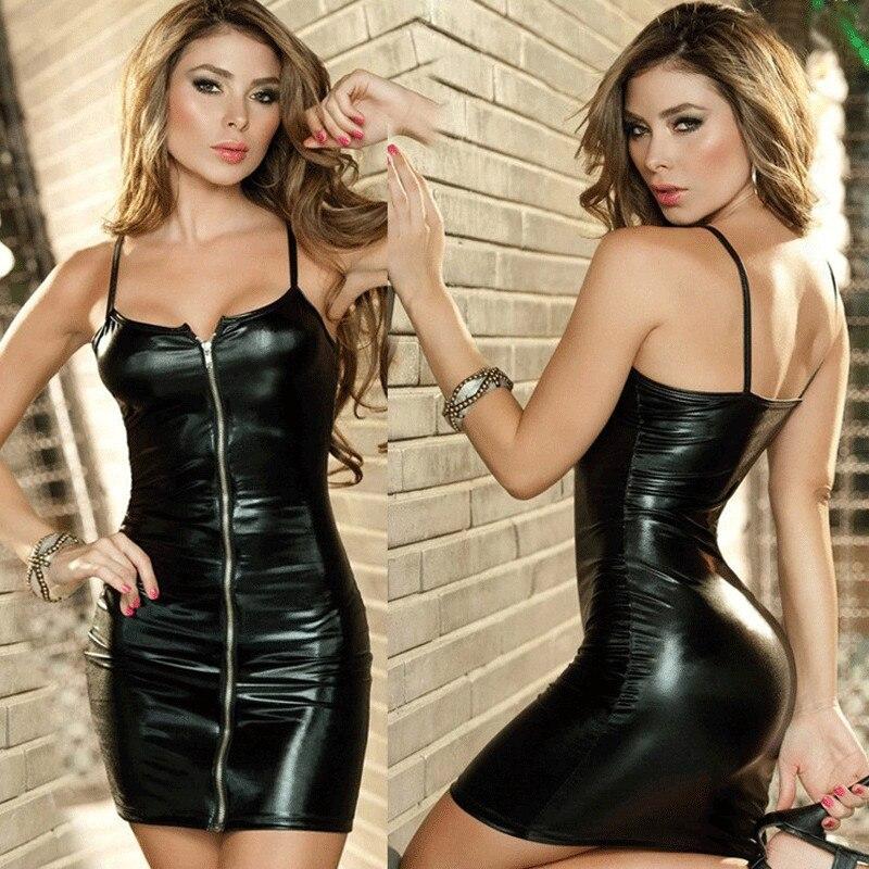 Erotic Sexy Lingerie Plus Size Women Erotic Dress Faux Leather Zip Clubwear Exotic Apparel Sex Bondage Costumes Underwear M-XXL