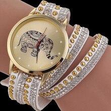 2017 New Fashion Luxury Elephant Bracelet Women Watches Casual Quartz Watch Leather Ladies Dress Wristwatch Relogio feminino