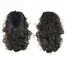 Soowee, 4 цвета, короткие кудрявые волосы, конский хвост, парики, синтетические волосы, конский хвост, черный, коричневый, на заколках, для наращивания, конский, сказочный хвост