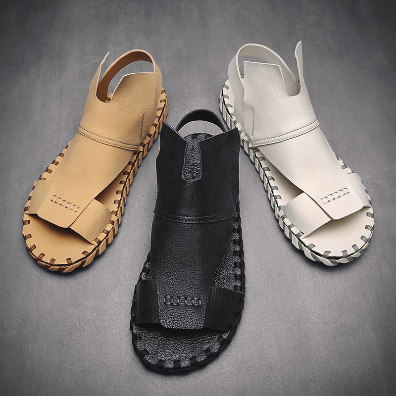 2019 Hot Sale Men Summer Slip On Sandals Pu Leather Sandals For Mens Designer Beach Sneakers Man Rubber Bottom Casual Shoes
