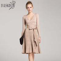 New Women Slim Knitted Dress Spring Pleated Dresses Hight Elastic Lacing Dress Brief Sweater V Neck