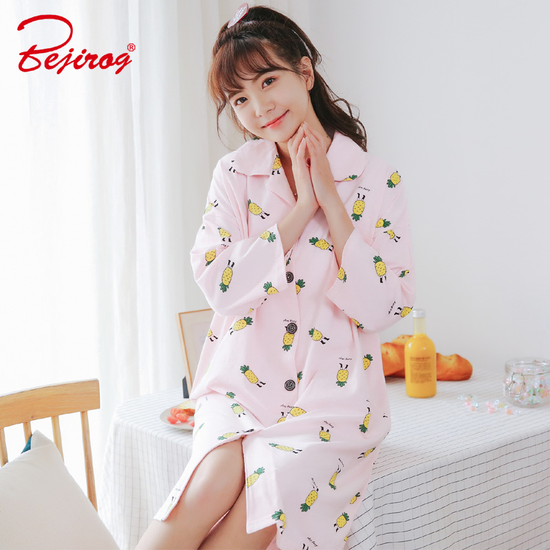Bejirog 2018 Button Nightwear Women Nightgown Knitted Cotton Long Sleeved Sleepwear Female Sleepshirt Pyjamas Nighties Summer