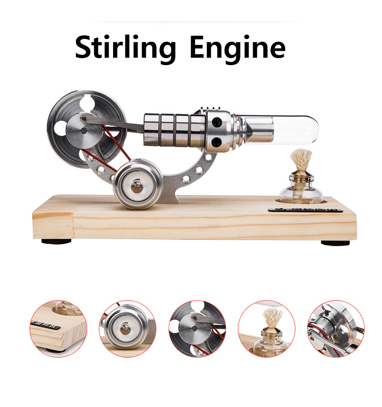 M14-03-S Stirling Engine Motor Model Mini Generator With Colorful LED Educational Toy Kits Electricity double cylinder stainless steel aluminium alloy base precision machining mini stirling engine generator with led best gifts