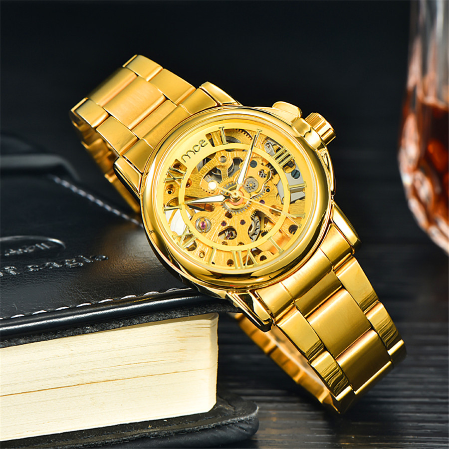 MCE Gold Skeleton Stainless Steel Designer Mens Watches Top Brand Luxury Automatic Casual Mechanical Watch Clock Men Wristwatch mce luxury fashion gold watch women high quality skeleton mechanical watch full stainless steel water resistant wrist watches