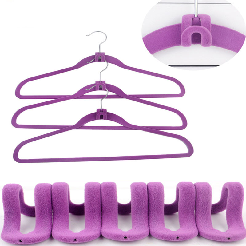 10pcs/set Mini Pile Coating Hooks Travel Flocking Hanging Hook Clothes Organizer Hanger Connector Hanger Rack Hooks Random Color