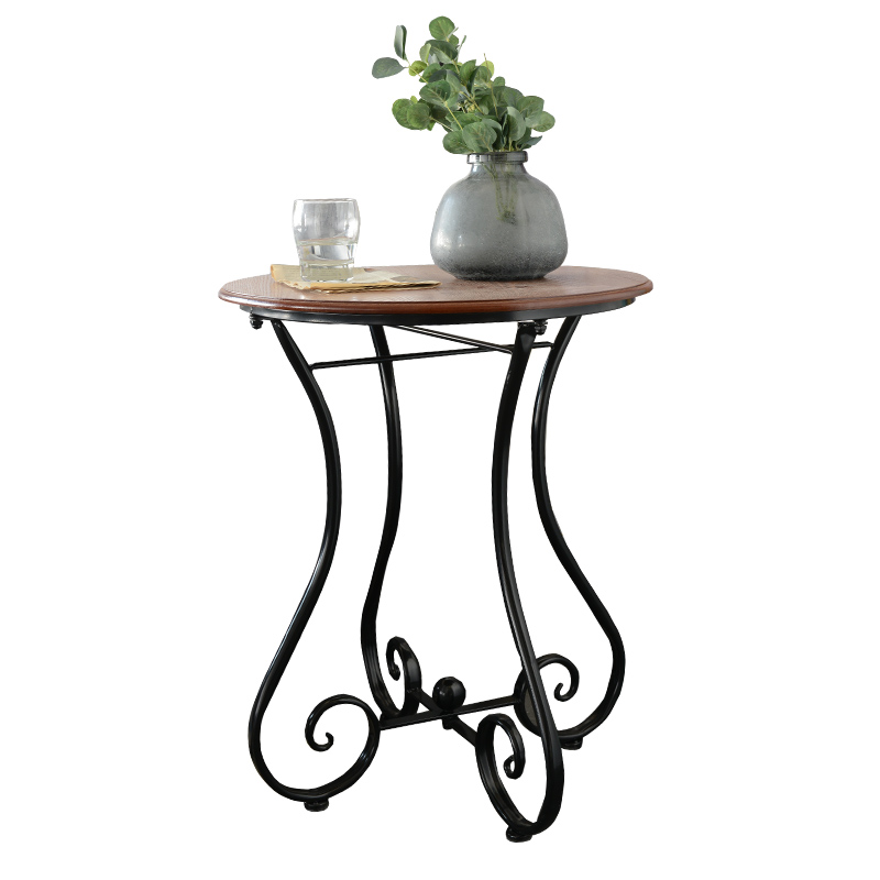 Metal Iron Wood Coffee Table Balcony Leisure Small Round Sofa Corner Small Corner Table