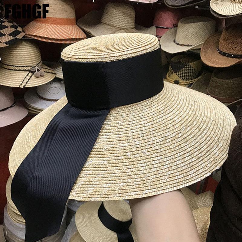c5c542cf085845 FGHGF Natural Women Sun Hats Black Ribbon 9cm 13cm 15cm Flat Top Large Wide  Brim Straw