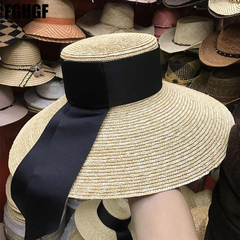 b312fd7c14038f FGHGF Natural Women Sun Hats Black Ribbon 9cm 13cm 15cm Flat Top Large Wide  Brim Straw