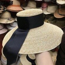 ナチュラル女性日帽子ブラックリボン 9 センチメートル 13 センチメートル 15 センチメートルフラットトップ大型ワイドつばわら帽子わら帽子 chapeu ソンブレロビーチ帽子