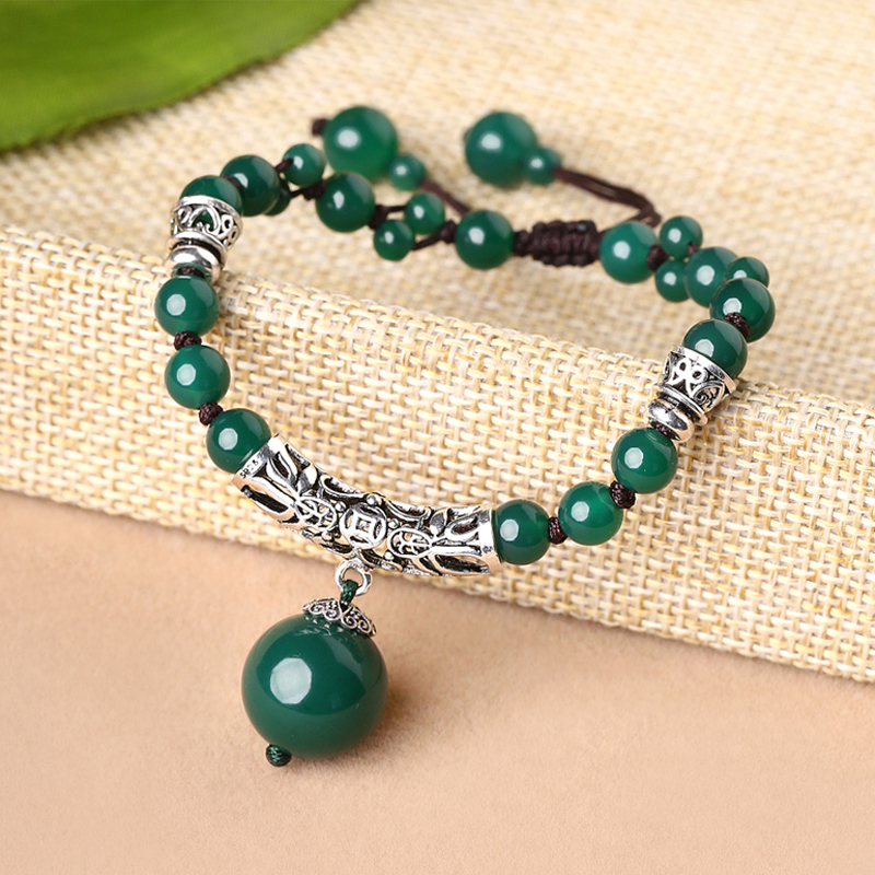 Retro female bracelet court wind hand-woven ethnic 925 silver agate bracelet jewelry ethnic wind bracelets men and women decorations green agate 925 silver ball duobao string original jewelry