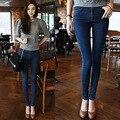 2015 Plus Size Jeans Pants Woman High Wrist Washed Classic Elastic Trousers Ladies Vintage Pencil Slim Skinny Jeans Female