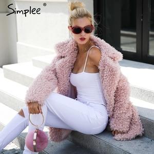 Image 4 - Simplee abrigo cálido de piel sintética para mujer, ropa de calle a la moda, abrigo largo de tallas grandes para mujer, abrigo informal rosa para otoño 2018