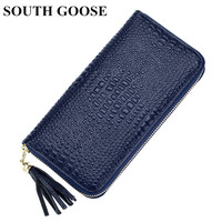 SOUTH GOOSE Brand Leather Women Wallet Alligator Long Wallets Fashion Lady Zipper Tassel Clutch Wallets Card