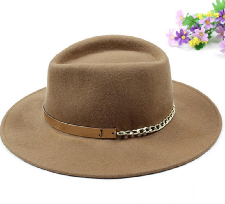 fab674fdbee1a0 6pcs Men Brom Pure Wool Felt Fedora Hats PU Ribbon Chain NEW Women Tan  Woolen Fedoras Caps for Spring Aututmn Winter Trilby Cap -in Fedoras from  Apparel ...