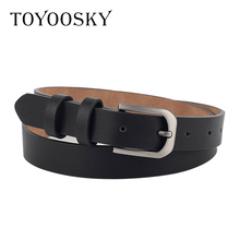 TOYOOSKY Simply Women Belts PU Leather Square Pin Buckle THIN Belts for Jeans Dress All-match Belts for Female Cinturon Mujer trendy pu leather square neck overall dress for women