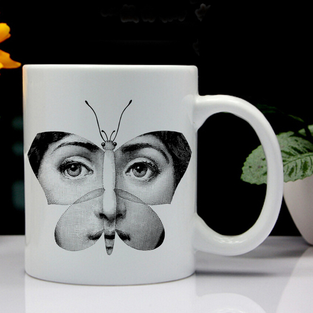 milan designer fornasetti plate face pattern printing mug