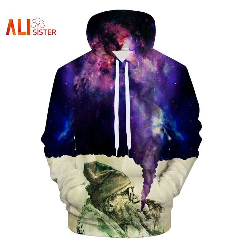 Men's Clothing Mr.1991inc New 2018 3d Hooded Sweatshirt Half Orc Smokes Men/women Space Galaxy Pullover Fashion Funny Hoodies Sweatshirts Pretty And Colorful