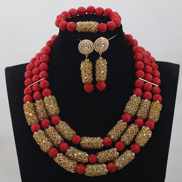 Wine Red Coral Add Champagne Crystal Jewelry sets African Wedding Bridal/Women Beads Necklace Jewelry Set Free Shipping CJ822