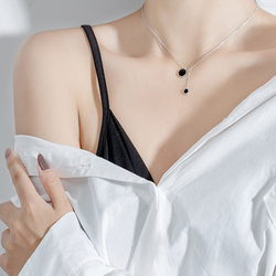 Fashion 925 sterling silver Necklace Pendant Sexy Clavicle Chain Black Charm Necklace For Women Jewelry Kolye
