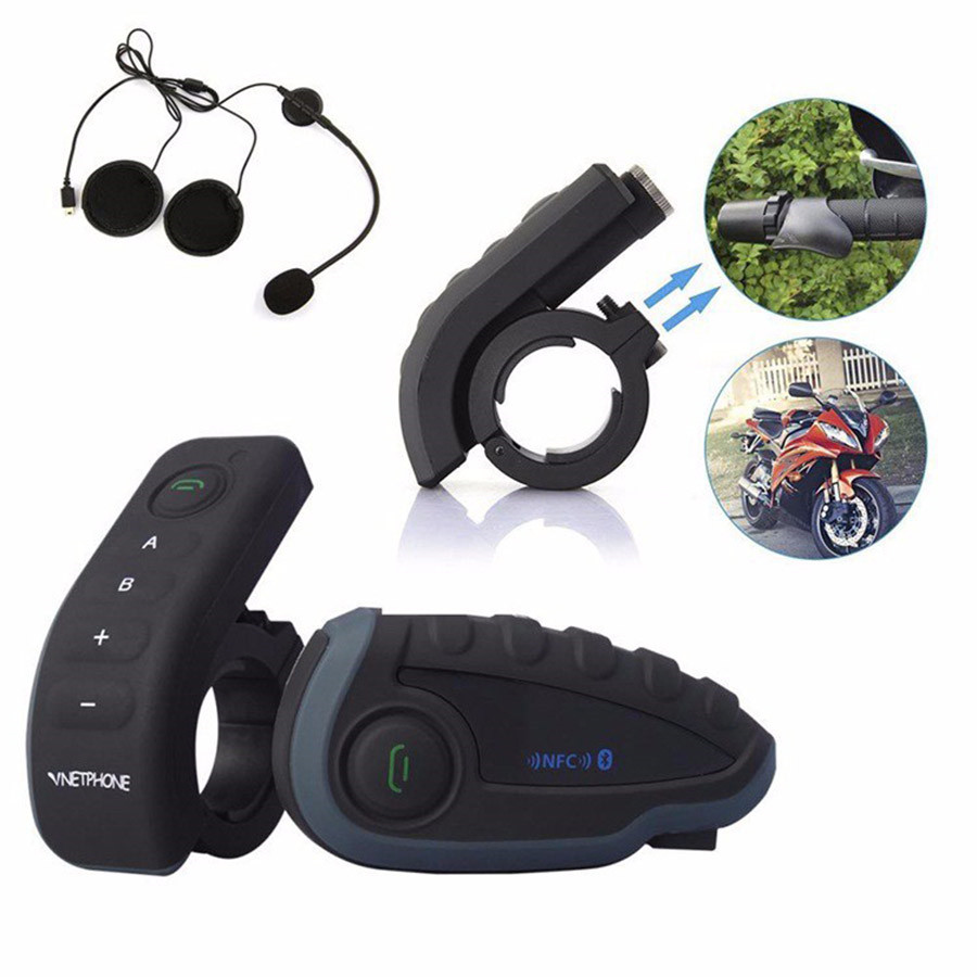06c6bf74ebd NEW 2PCS V8 BT Headset Bluetooth Motorcycle Helmet Intercom Moto  Communication 5 Riders 1200M Full Duplex Interphone With FM NFC-in Helmet  Headsets from ...