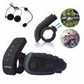 NEW 2PCS V8 BT Headset Bluetooth Motorcycle Helmet Intercom Moto Communication 5 Riders 1200M Full Duplex Interphone With FM NFC