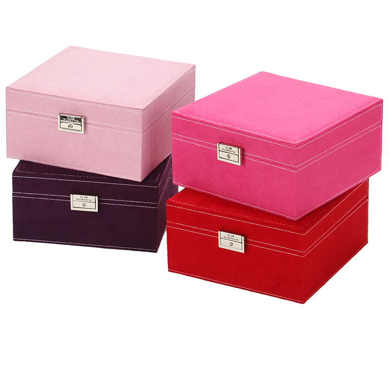 2 layers Large Fashion Flannel Square Jewelry Box wooden Jewelry Case Makeup Organizer Bracelet choker Ring necklace Storage Box v cut wooden makeup organizer