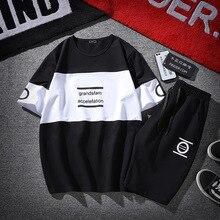 Новый Модный летний мужской спортивный костюм футболка с короткими рукавами шорты хип-хоп спортивная одежда комплект из 2 предметов для мужчин буквы спортивные костюмы с принтом