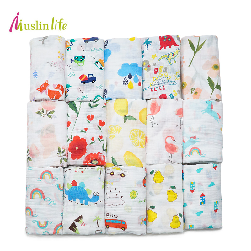 Muslinlife Cotton Breathable Baby Blanket Mutli-functional Muslin Baby Blanket Newborn 100+ Patterns Fashion Swaddle Available