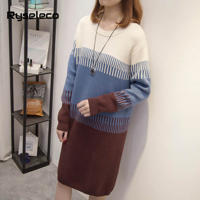866d0444a07 Online Shop Women Fall Winter Vintage Plus size Sweater Dresses Long Sleeve  Patchwork Knee-Length Oversize Knitted Tunic Straight Vestidos