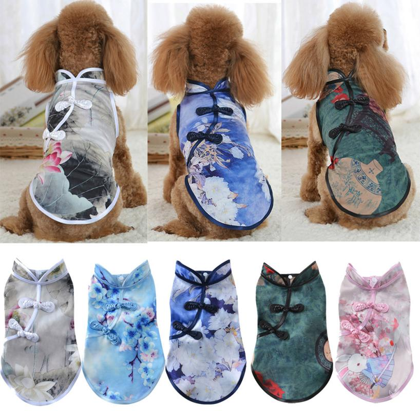 Cute Tang Suit Chinese Cheongsam Costume Clothes For Dogs Pet Puppy Cats Pet Clothing Accessories # ZC