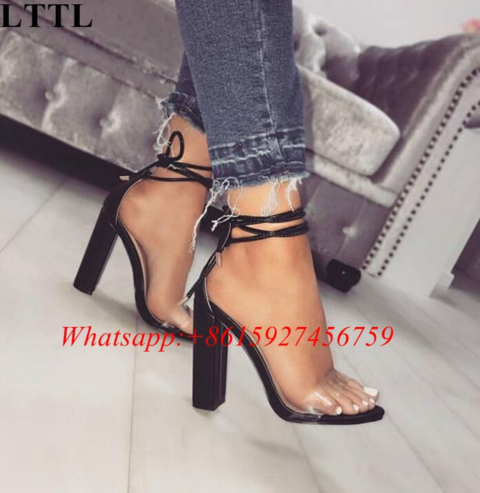 b48d6b505ffc LTTL Summer Hot Sandals Women Wicked Lace up Block Heel PVC with Faux Suede  Gladiator Sandals Other Color Customized Party Heels