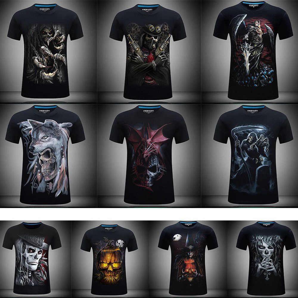 Мужские футболки модный дизайн с коротким рукавом повседневные топы череп/Рок/металл/смерть/Паровой Панк/жнец/дракон 3D печатная Футболка крутая футболка