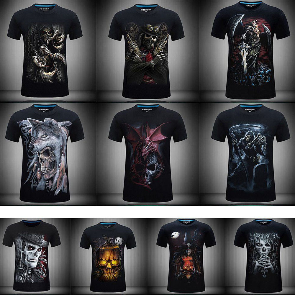 Men   T     Shirts   Fashion Design Short Sleeve Casual Tops Skull/Rock/Metal/Death/Steam Punk/Reaper/Dragon 3D Printed   T  -  Shirt   Cool Tee