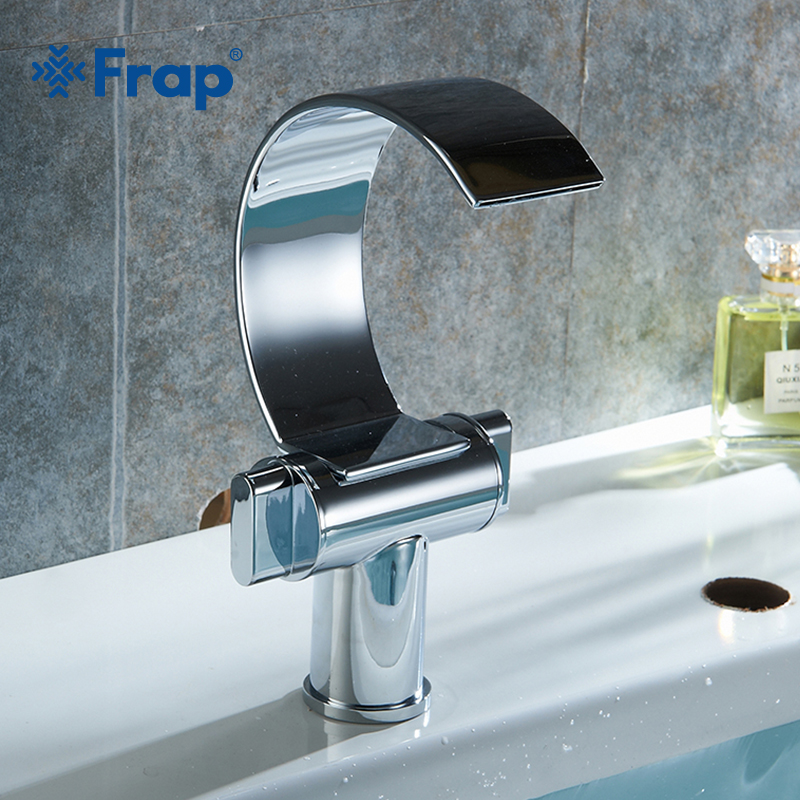 Frap basin faucet waterfall spout chrome bathroom faucets - Bathroom sink faucets separate hot and cold ...