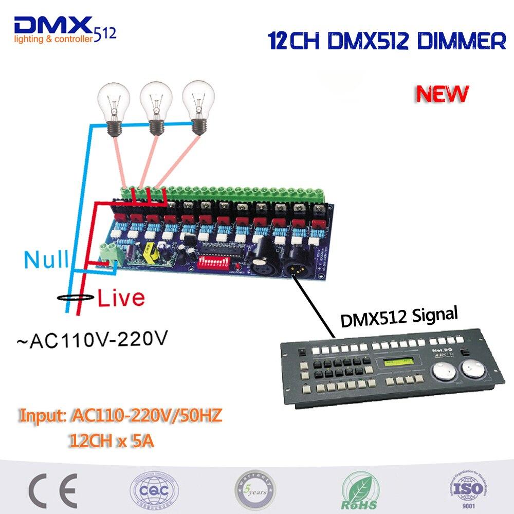 DHL Бесплатная доставка 6 шт./лот AC110 220V затемнения 12 каналов DMX512 контроллер для лампы накаливания переменного тока - 2