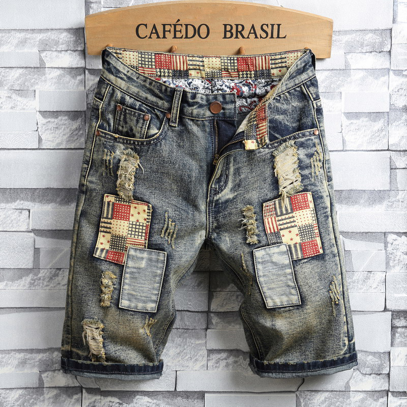 Europeans Designed Man Patchwork Denim Shorts Bagger Style Men Slim Vintage Ripped Hole Short Personal Causal Special Jeans